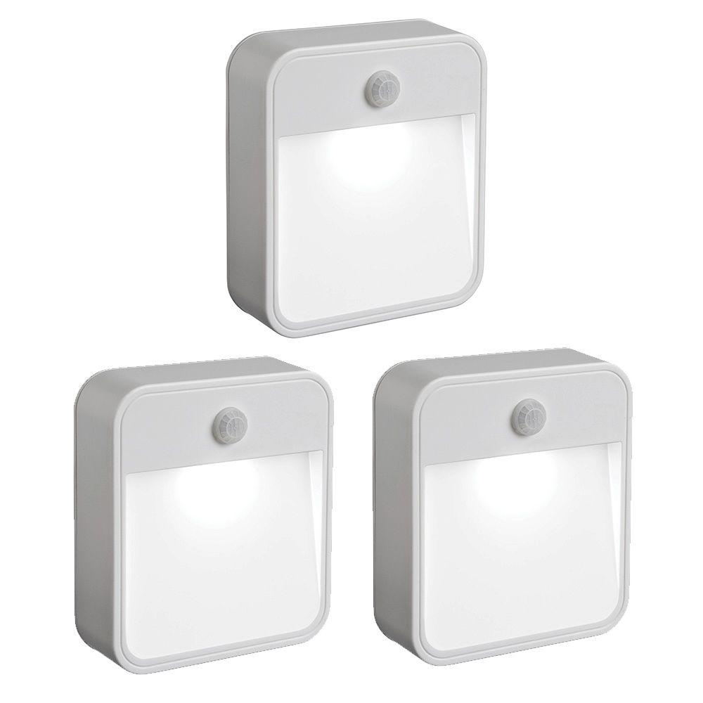 Mr Beams Indoor Outdoor Battery Powered Motion Activated 20 Lumen Led Stick Anywhere Light 3 Pack Mb723 The Home Depot Motion Sensor Lights Outdoor Motion Sensor Lights Led Stick
