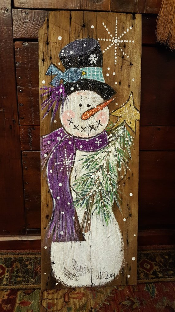Hand Painted Snowman On Old Barnwood Christmas Crafts