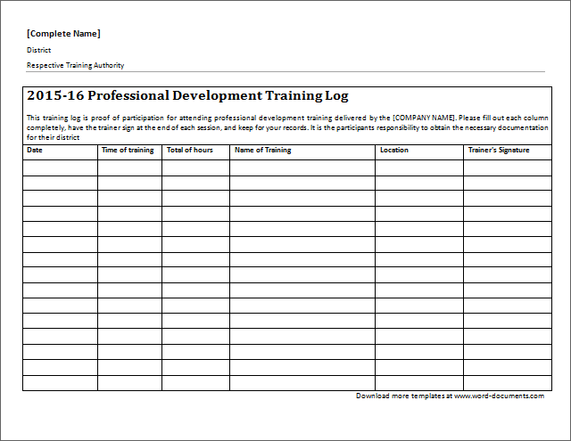 Professional Development Training Log Download At Http