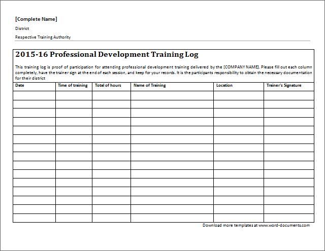 professional development training log download at http