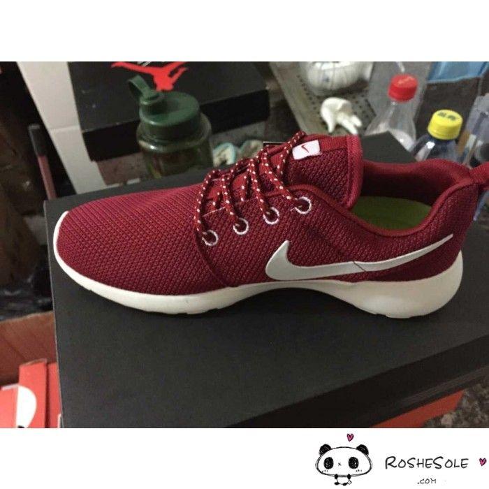 Discounted Nike Adidas Puma Air Jordan Shoes Online Store Hot Sale Nike  Roshe Run Womens Mens Mesh Maroon Red White Burgundy -