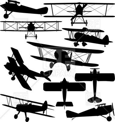 Silhouettes Of Old Aeroplane Contours Of Biplanes 38339
