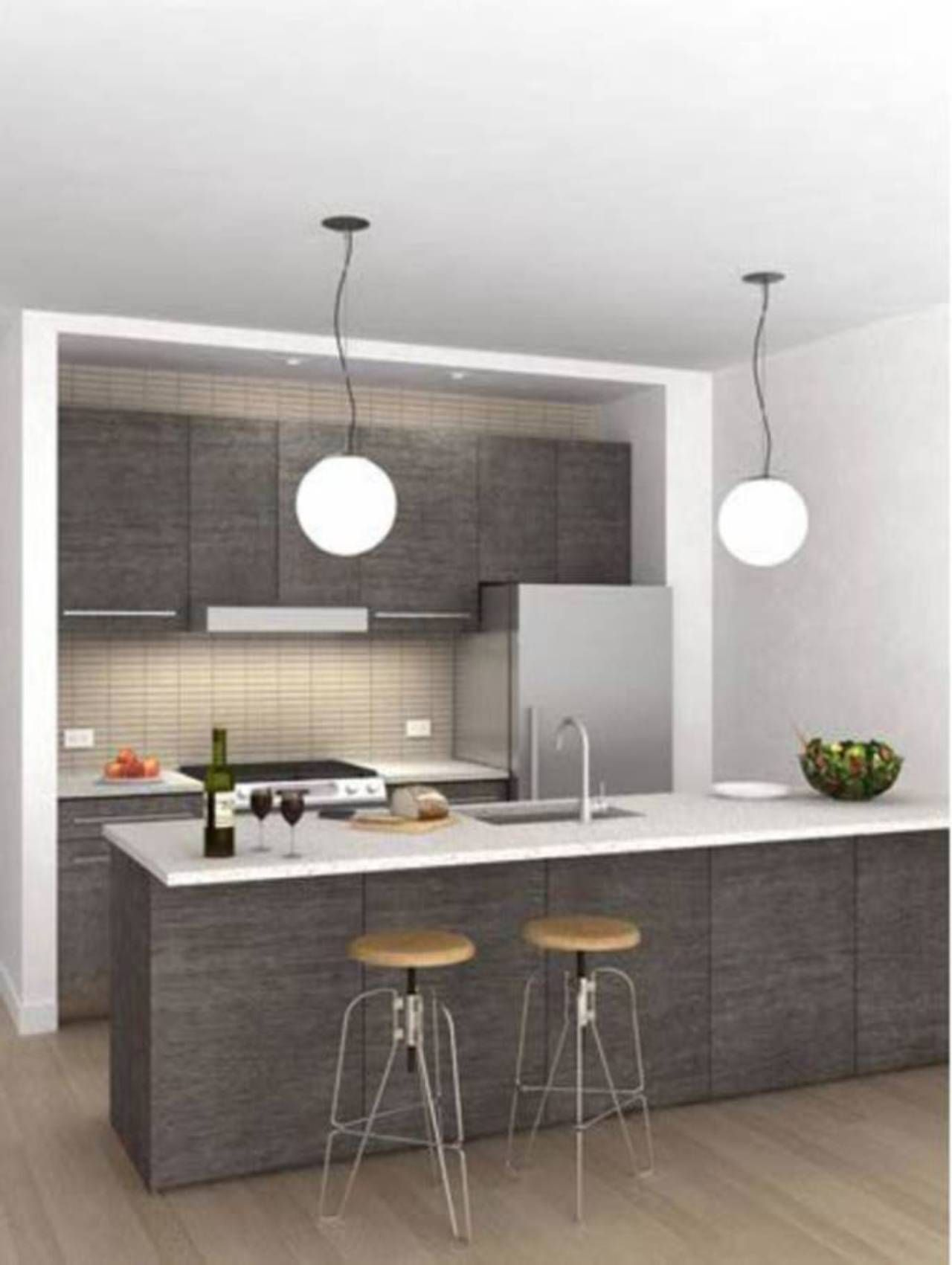 Best White Grey Small Kitchen Designs 2013 With Pendant 400 x 300