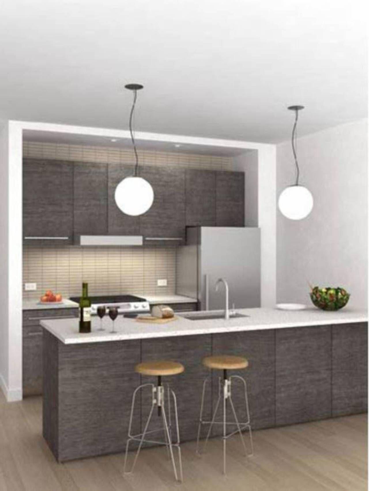 White Grey Small Kitchen Designs 2013 With Pendant