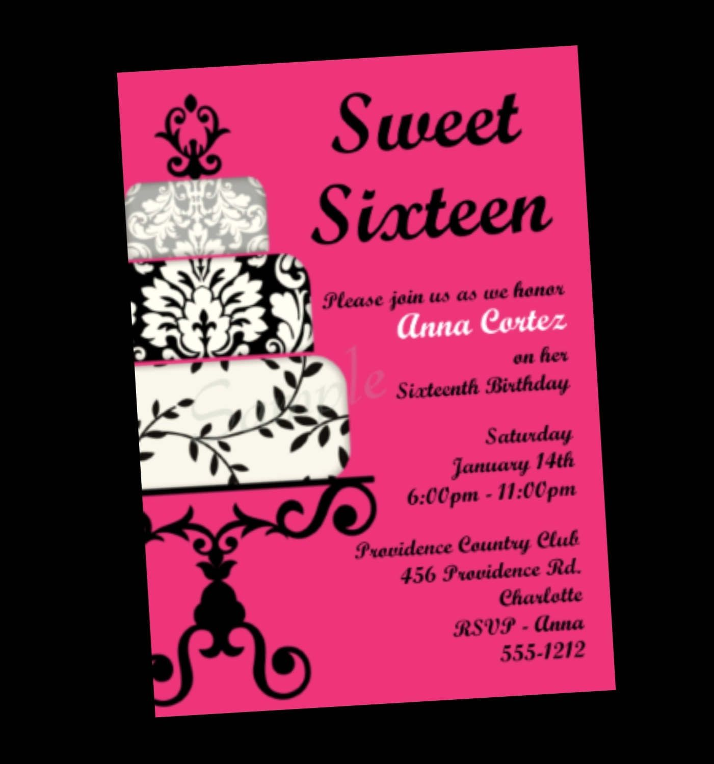 Invitations for sweet 16 birthday sweet 16 birthday invitations items similar to sweet 16 birthday invitation sweet sixteen party invitations printable or printed on etsy monicamarmolfo Image collections