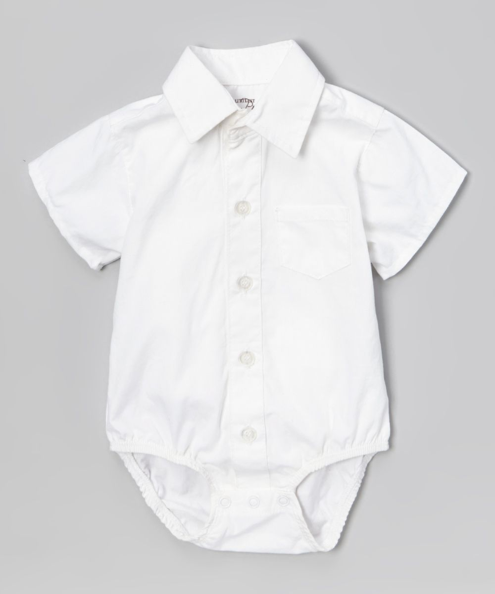 White Short Sleeve Button Up Bodysuit Infant Toddler Products