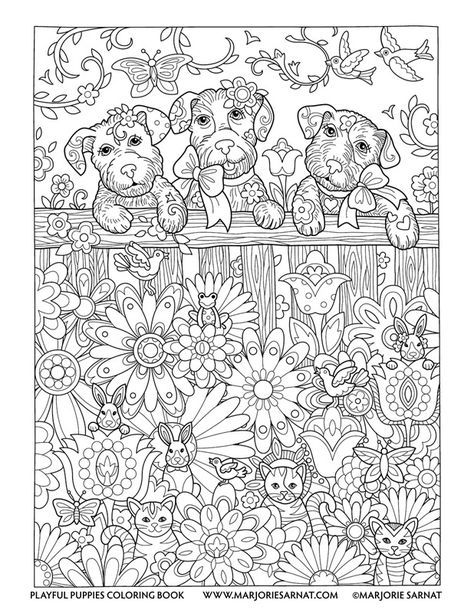 Backyard Fence Playful Puppies Coloring Book By Marjorie Sarnat