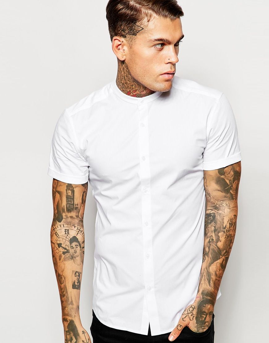 ASOS Skinny Fit Shirt With Short Sleeves And Grandad Collar ... 13b04bb7b165f