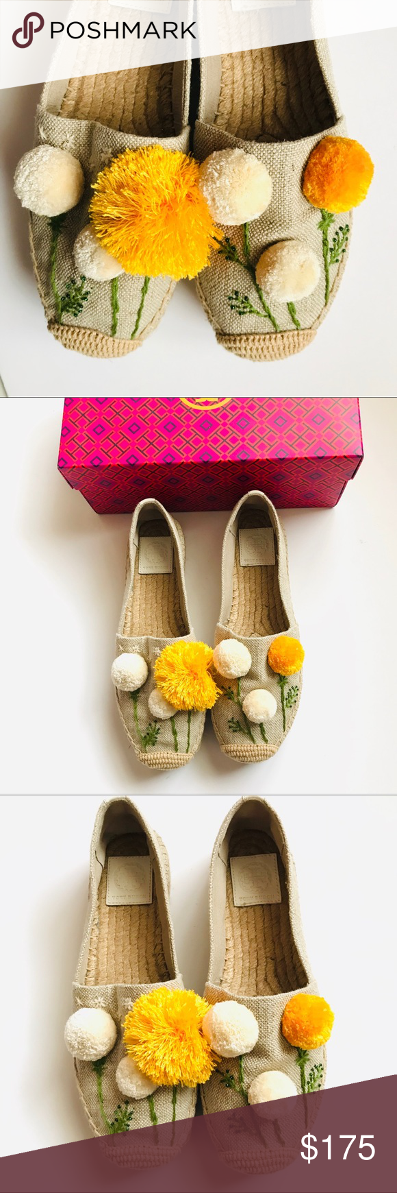 abc86d24a New Tory Burch Lily Pompom Platform Espadrille New. DETAILS & CARE Fluffy  pompoms give three-dimensional life to the whimsically embroidered  dandelions ...