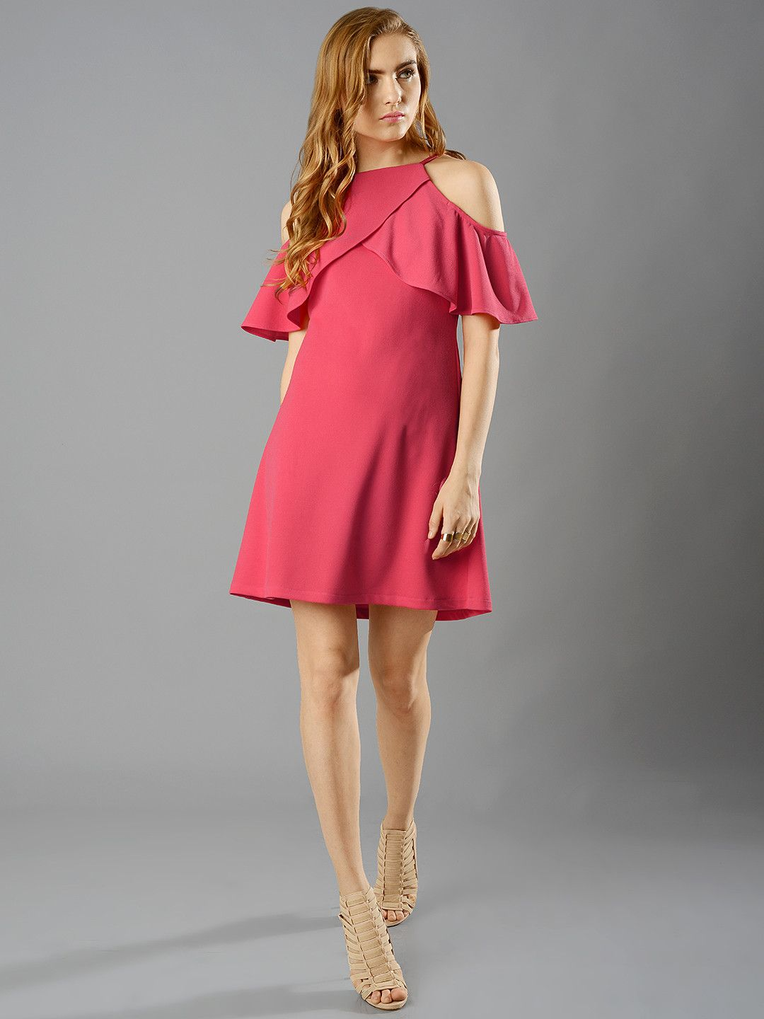 345daa2b55d5eb FabAlley Women Coral Red Cold Shoulder Solid A Line Dress #solid  #cold_shoulder