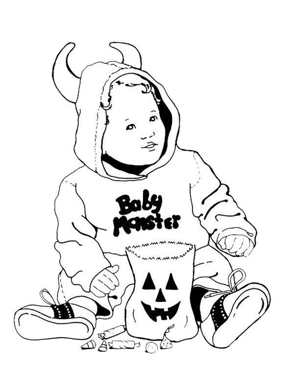 New Baby Monster Halloween Coloring Page Halloween Coloring Pages Coloring Pages Halloween Coloring