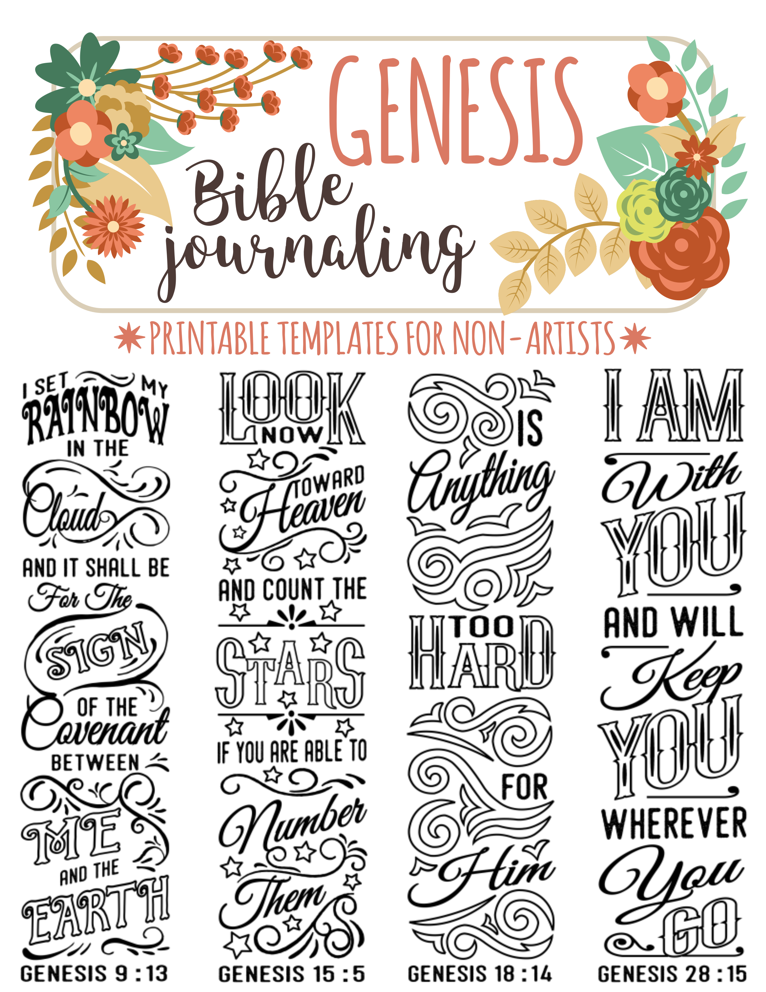 GENESIS Printable Bible Journaling Templates For Non Artists Just PRINT TRACE