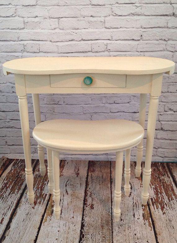 Vanity Stool Diy Stool: Vintage Kidney Shaped Desk Vanity Stool Knob