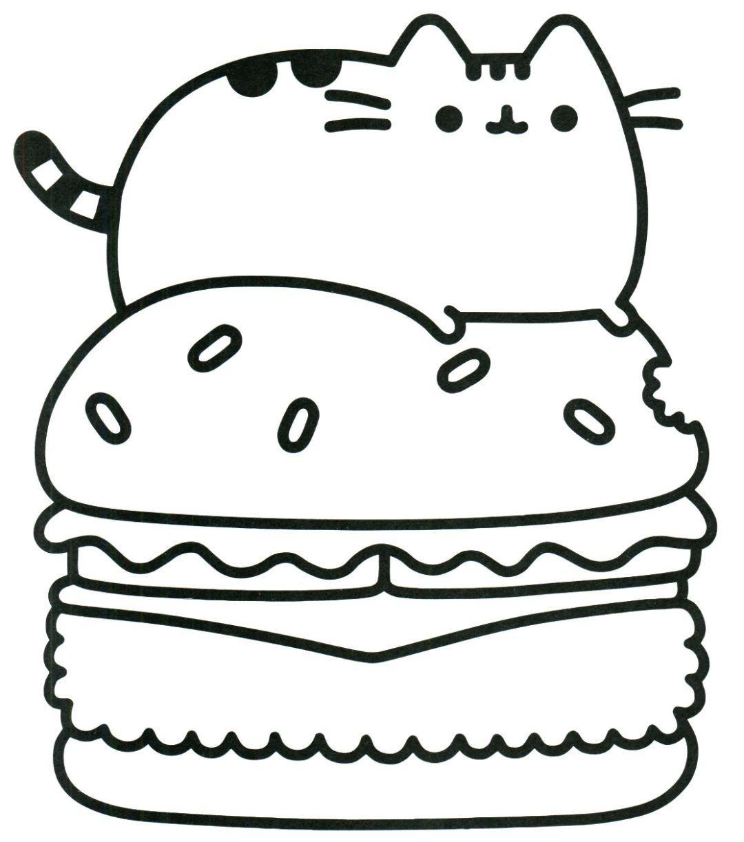 Pusheen burger coloring page