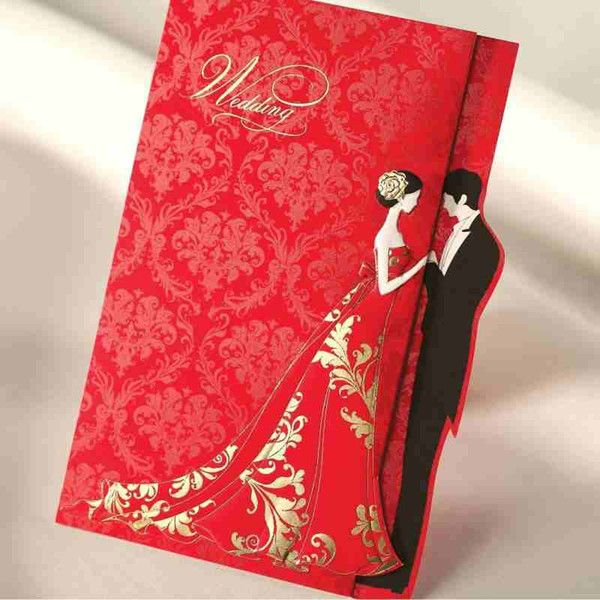 Cheap red gold stamp wedding invitations cards with for Printable folded wedding invitations