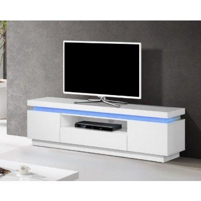 meuble tv blanc laqu led intgr - Meuble Tv Blanc Laque Led