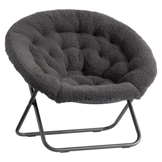 Amazing Charcoal Sherpa Hang A Round Chair