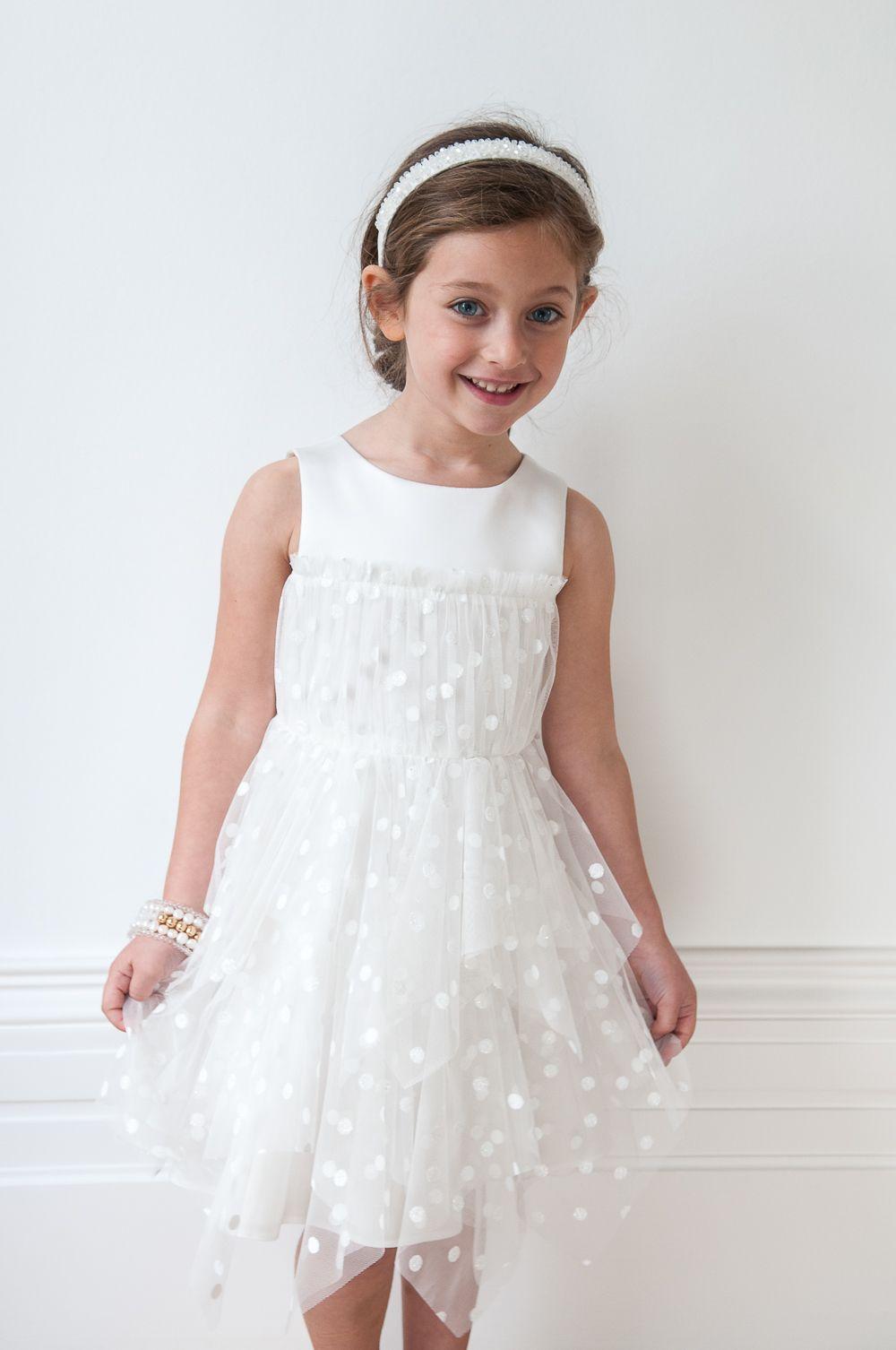 Dainty white tulle formal girls dress girls formal