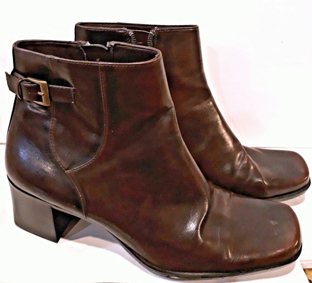 d0f8be59f1e84 Liz Claiborne Brown Black Villager Tally Side Zip Marinette Ankle Boots Sz  9 1 2  LizClaiborne  Booties  CasualDressOutdoorPartyWork