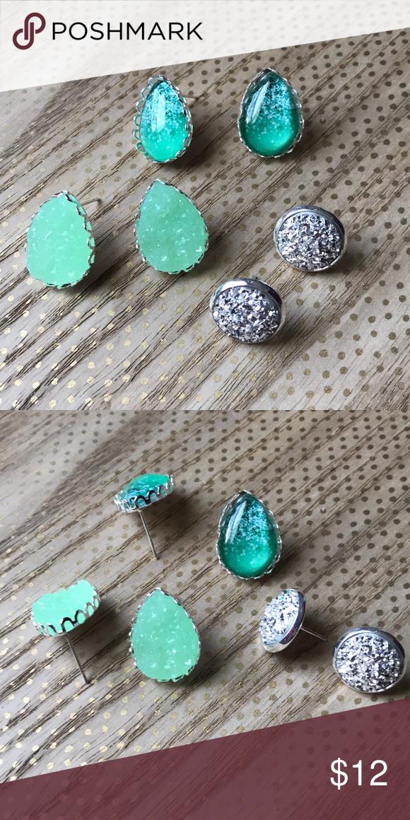 f543f064d New Mint Sea Silver Druzy. Speaking Glitter ✨ set NEW Beautiful Mint Green  Earring Set
