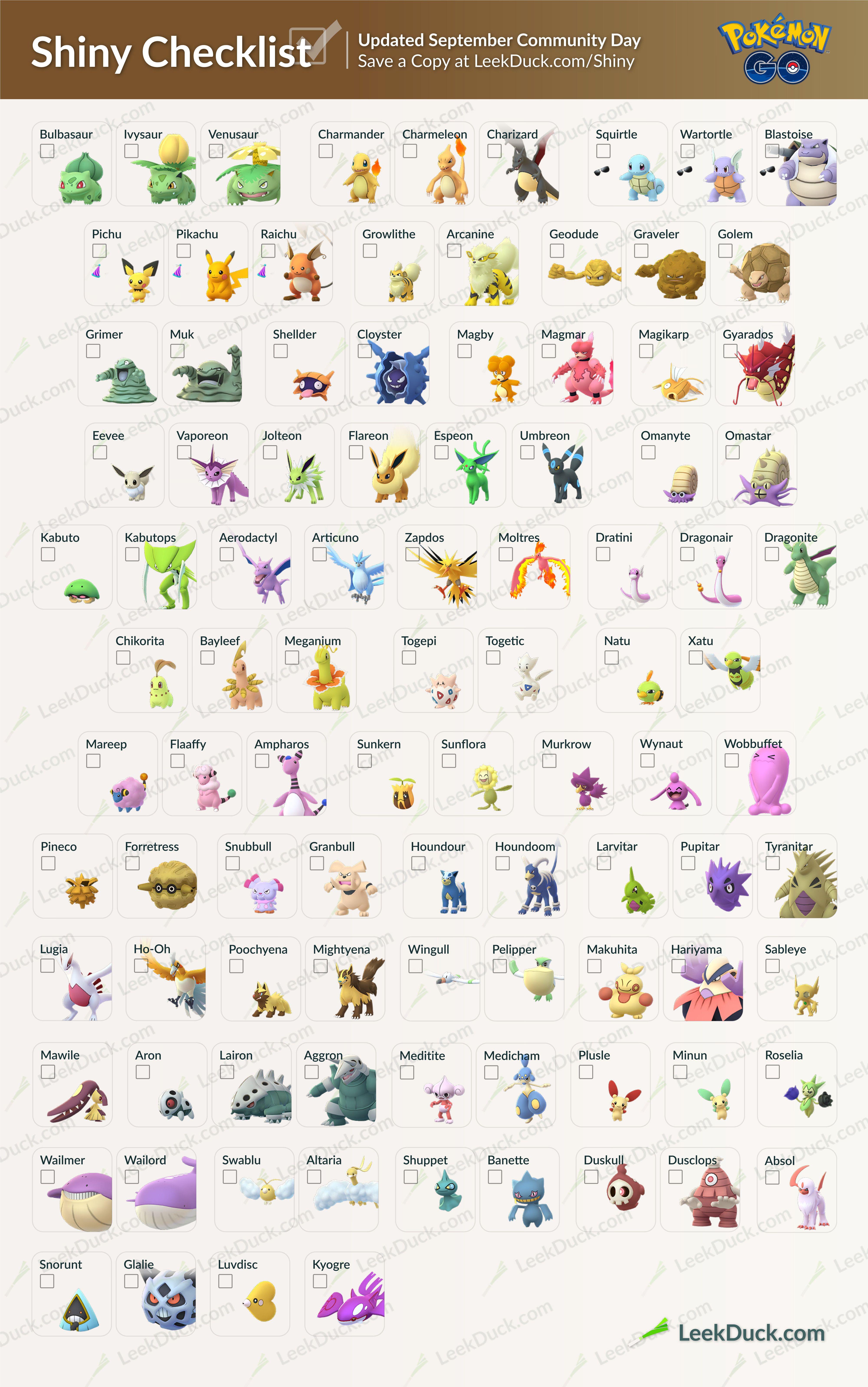 Shiny Checklist Pokemon Go Pokemon Pokemon Names