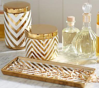 Gold Chevron Accessories #potterybarn   Desk Or Vanity Accessories