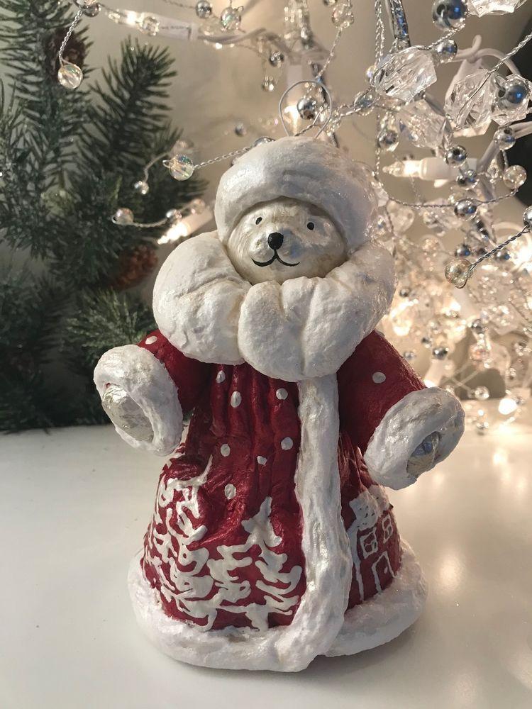 Christmas ornament handmade santa bear muffy clay face