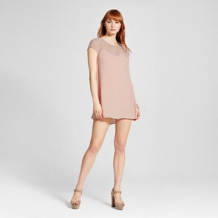 Women's Lace Yoke Lattice Back Dress - Almost Famous (Juniors') : Target