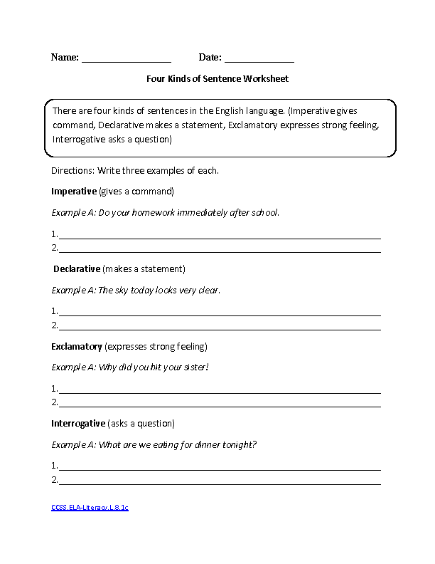 Printables Eighth Grade English Worksheets english worksheets for year 8 free 1000 images about four kinds of sentences ccss ela literacy l 1c language