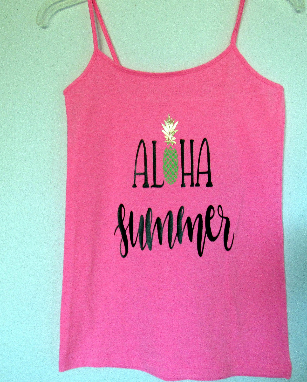 Pink pineapple tropical tank top aloha summer juniors pink