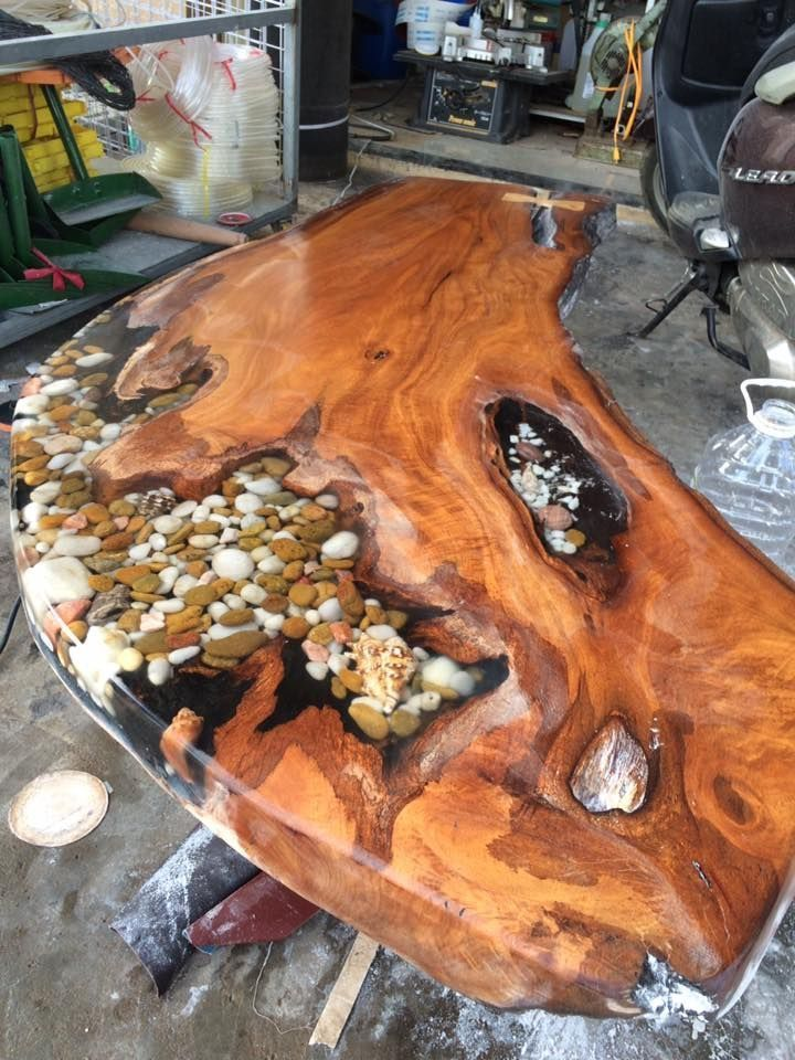 epoxy tisch mit stein und schale holz tisch. Black Bedroom Furniture Sets. Home Design Ideas