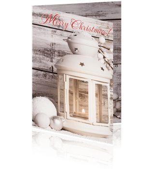 Originele kerstkaarten op pinterest met een kaarsje en lantaarn of windlicht.