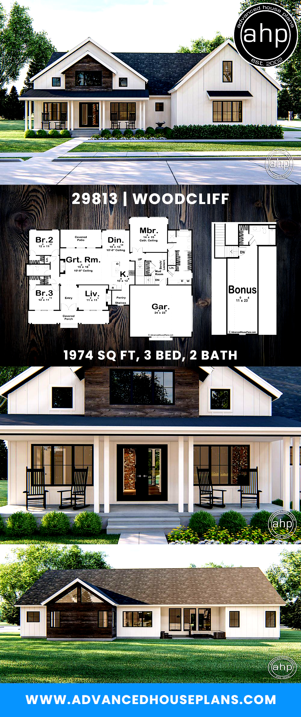 1 Story Modern Farmhouse Plan Woodcliff The Woodcliff