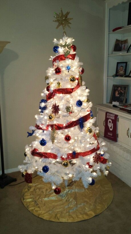 My first White Christmas Tree! Comanche Nation Colors my very