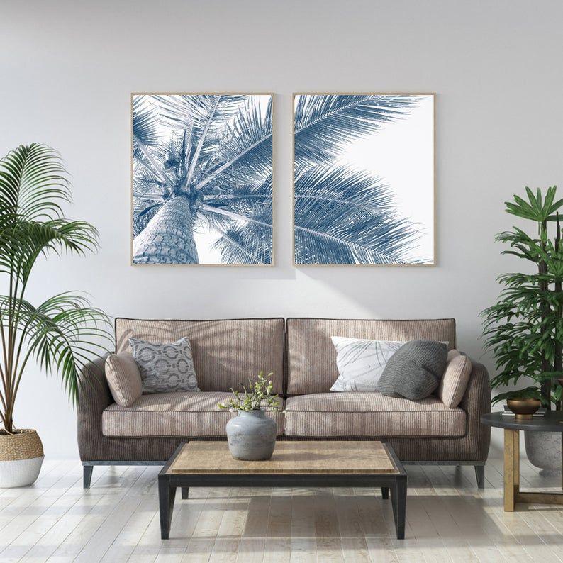 Palm Tree Photography Set Of 2 Palm Tree Print Palm Tree Etsy In 2020 Palm Tree Wall Art Palm Tree Photography Palm Tree Art #palm #tree #for #living #room