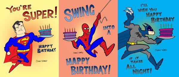 Bright image for free printable superhero birthday cards