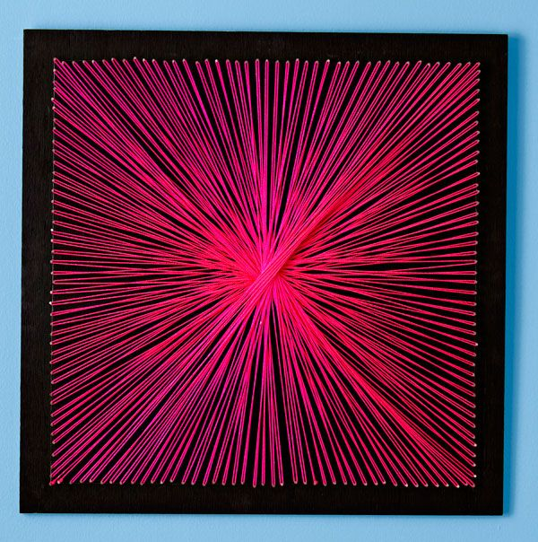 Here is a perfect middle-school age kid craft!  String wall art