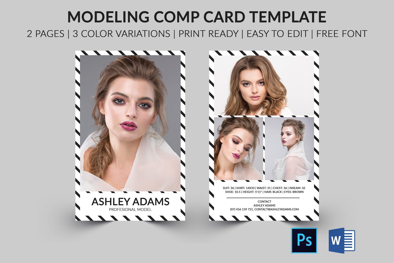 Modeling Comp Card Model Agency Zed Card Photoshop Etsy Model Comp Card Card Template Card Templates Free