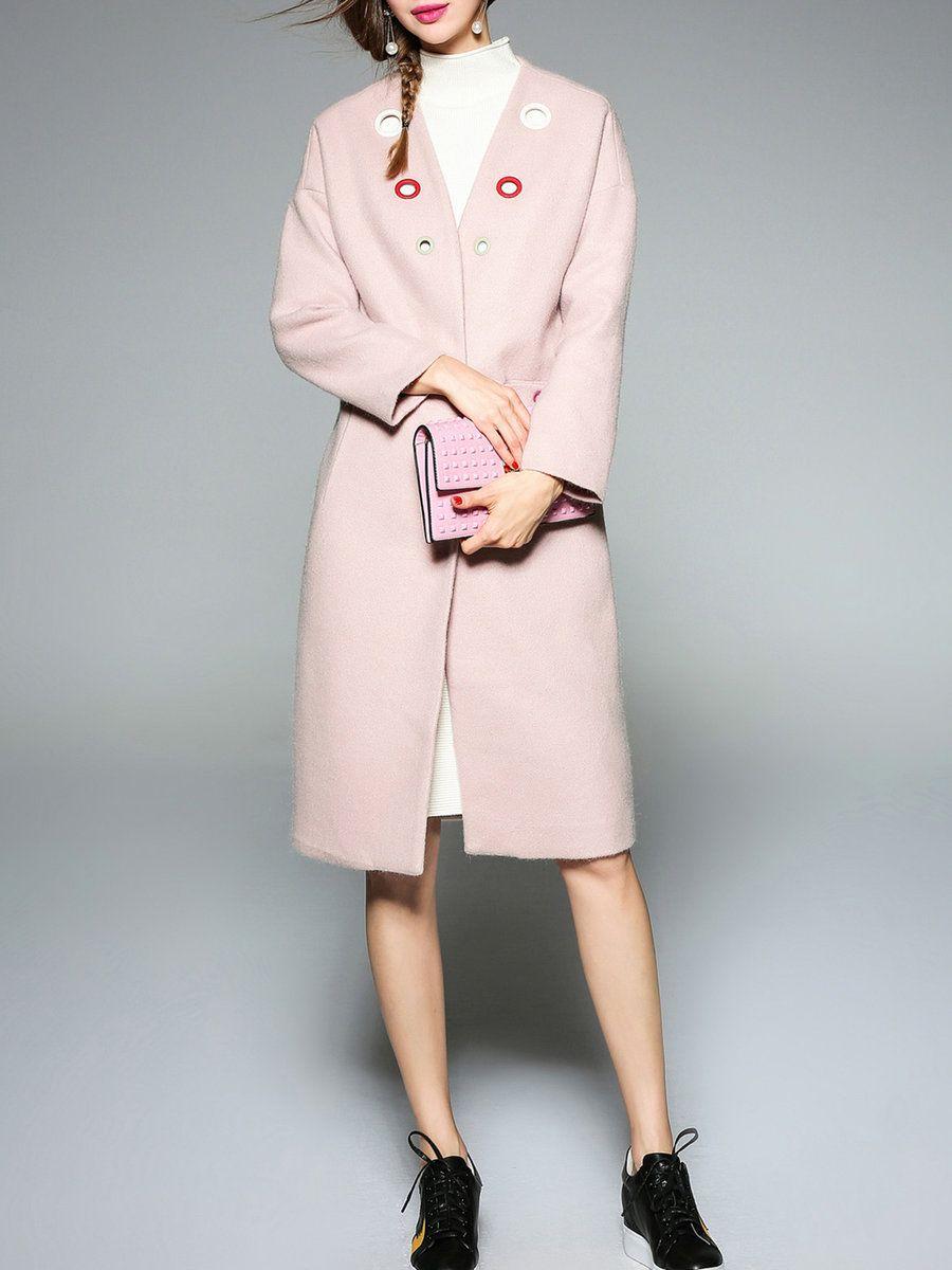 Adorewe queen mulock grommet simple pockets buttoned long sleeve