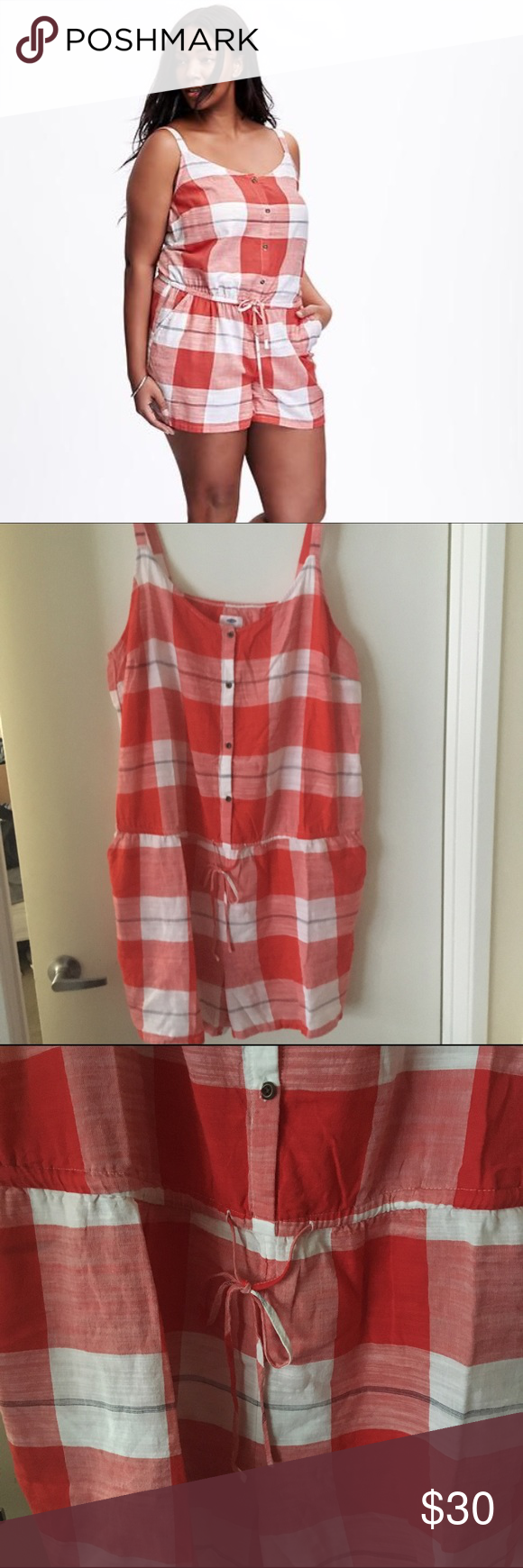 Checkered Romper Super cute thin strapped romper. It has elastic and a tie around the waist to highlight and cinch it. The romper also has pockets which is amazing and the romper has buttons that go all the way up. It's a thin light material perfect for summer. It's not see through. Also the romper has adjustable straps Old Navy Pants Jumpsuits & Rompers
