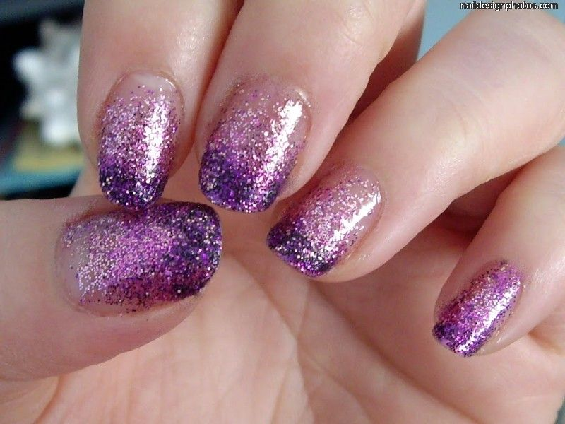 Pretty Purple Glittery Nails | Nail Polish Ideas | Pinterest | Short ...
