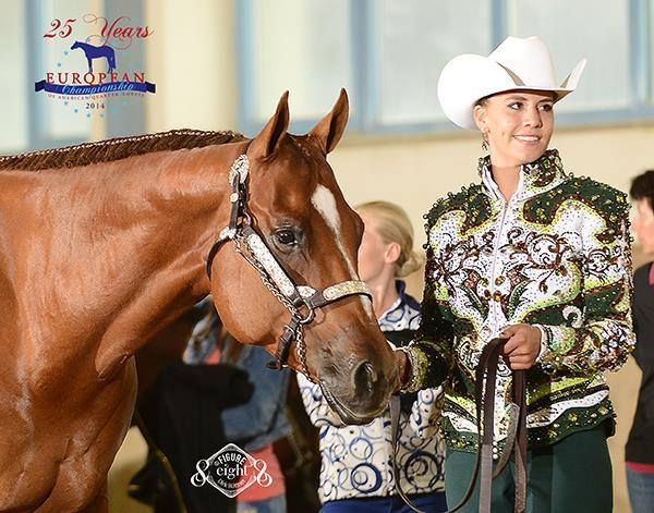 """Pia Lipps at the 2014 FEQHA European Chamionships wearing """"Walking on the Moon"""" jacket"""
