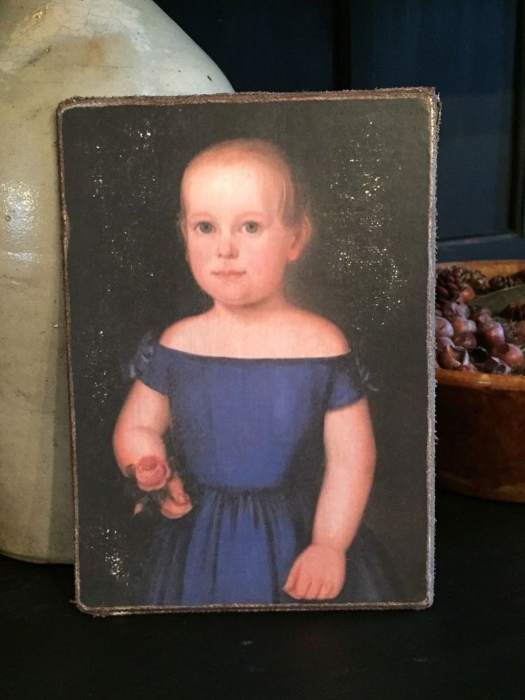 Antique Reproduction Primitive Girl in Blue Dress Print on