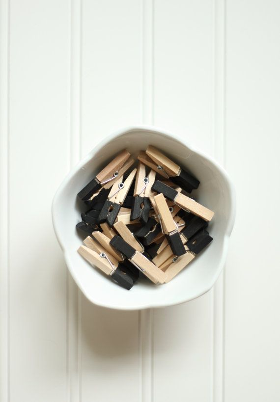 10 Black Mini Paint Dipped Wooden Clothespins (1.75 inches) - Gift Wrap, Packaging, Scrapbooking, Picture Hanging, and Party or Shower Decor