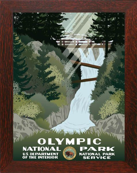 Olympic National Park Framed Poster Wpa National Park Posters Vintage National Park Posters Wpa Posters