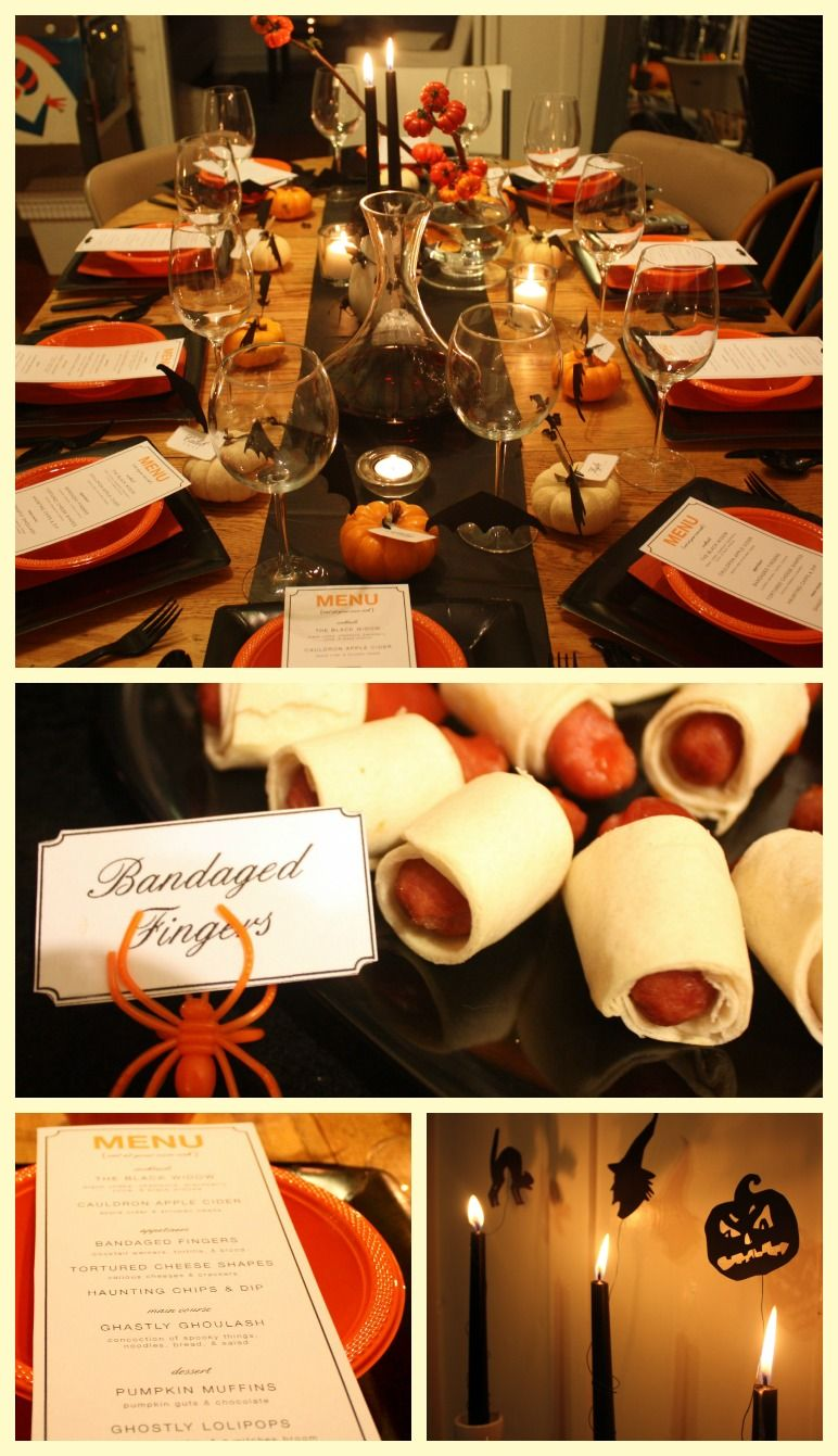 halloween dinner party ideas bandaged fingers, ghastly goulash