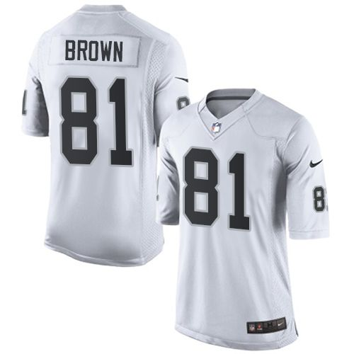 4965e84ebe4 Nike Limited Tim Brown White Men's Jersey - Oakland Raiders #81 NFL Road