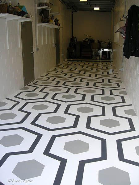 Geometric Painted Floor Neutral Colours Flooring