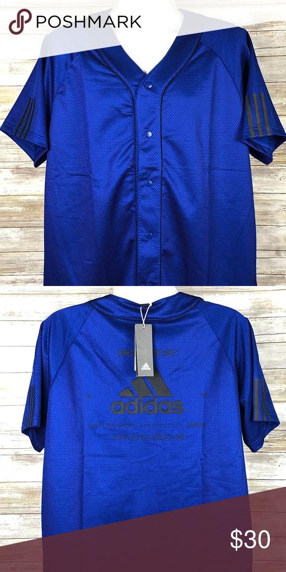 Adidas Athletic Sports Baseball Jersey XL BLUE $45 | Adidas ...