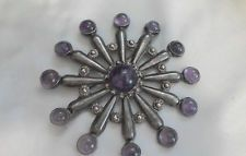 STERLING TAXCO AMETHYST LARGE BROOCH